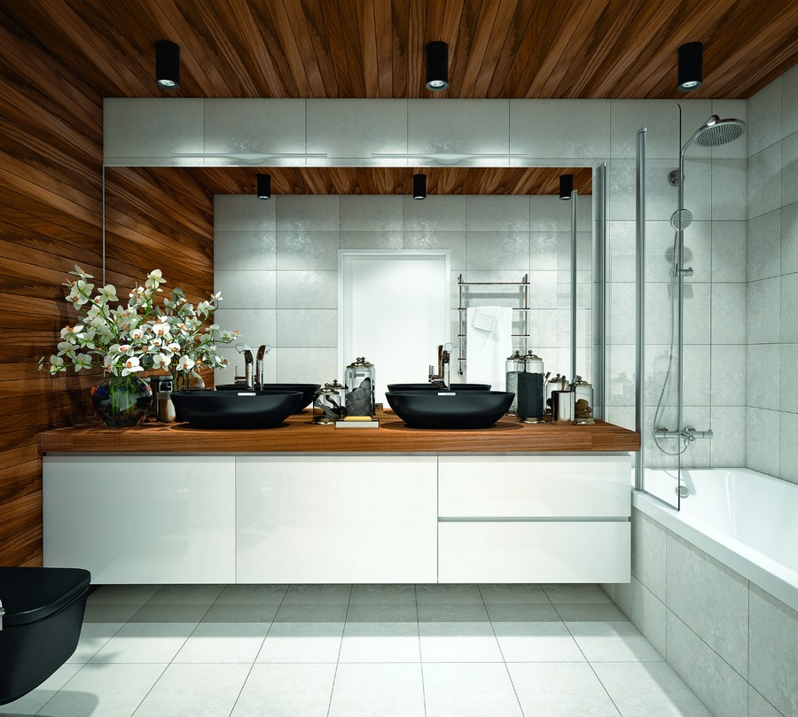 6-wooden-ceiling-decor-in-interior-design-bathroom-wall-countertop-white-square-tiles-shower-bathtub-wall-mounted-vanity-unit-black-double-sinks-wash-basins-top-mounted