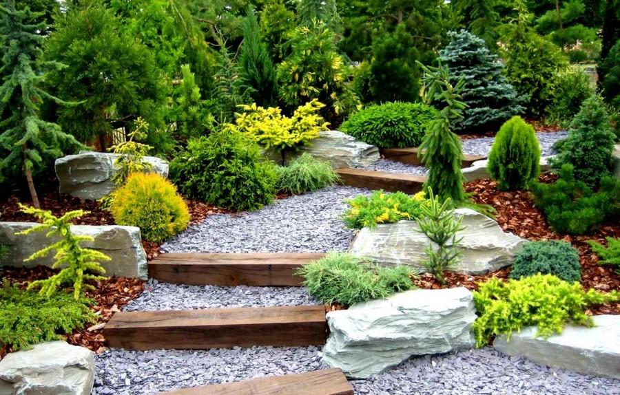 7-3-garden-path-design-ideas-walkway-pathway-crushed-stone-gravel-rocks-wooden-stairs-landscape-design