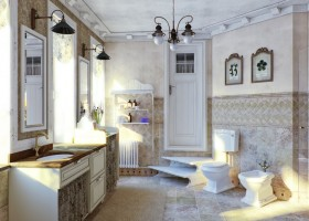 7-French-style-bathroom-interior-design-ideas-light-pastel-colors-romantic-wash-basin-white-furniture-vanity-unit-toilet-bidet-vintage-black-lamps-windows-stairs-radiator-floral-wall-tiles