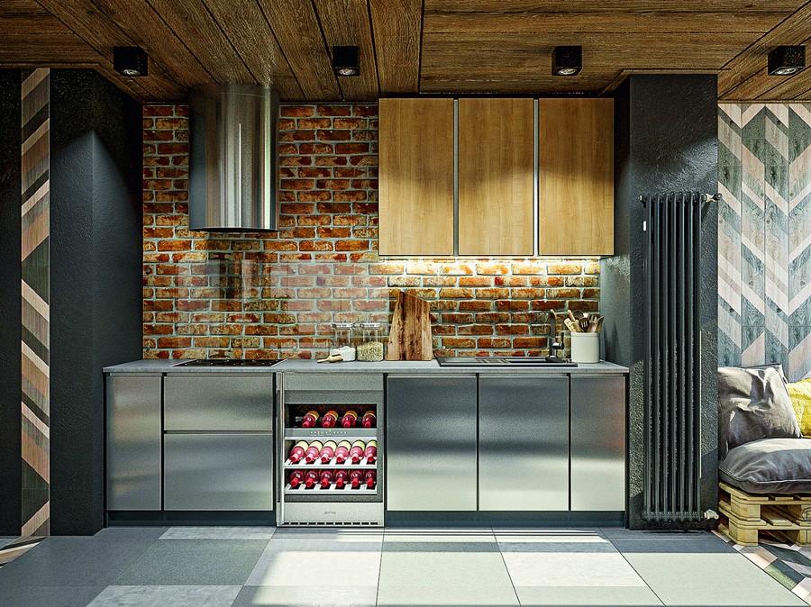7-wooden-ceiling-decor-in-interior-design-brutal-loft-industrial-style-kitchen-metal-cabinets-steel-cooker-hood-faux-brick-backsplash-wall-tempered-glass-wine-cabinet-tall-radiator-geometrical-motifs