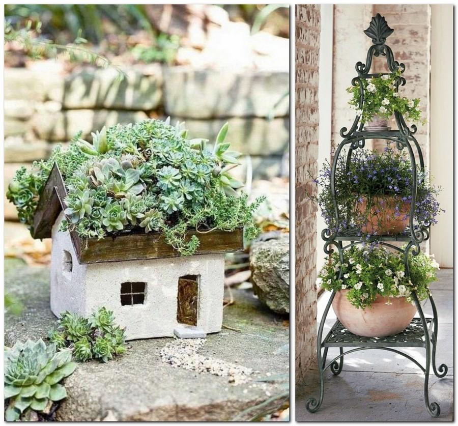 8-creative-garden-decor-ideas-small-ornamental-house-with-succulent-composition-wrought-whatnot-outdoor-flower-pot-holder