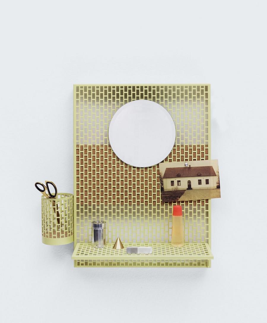 8-perforated-metal-and-cork-inspiration-note-board-white-with-pen-holder-mirror-racks-by-Hay-Pinorame-wall-piece-Inga-Sempe-cork-wood-home-decor-accessories