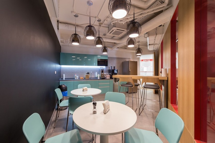 9-2-Mattel-office-interior-design-Russia-Moscow-toys-seller-dining-zone-area-turquoise-bar-chairs-round-white-tables-wooden-wall-chalkboard-wall-exposed-ceiling-wires