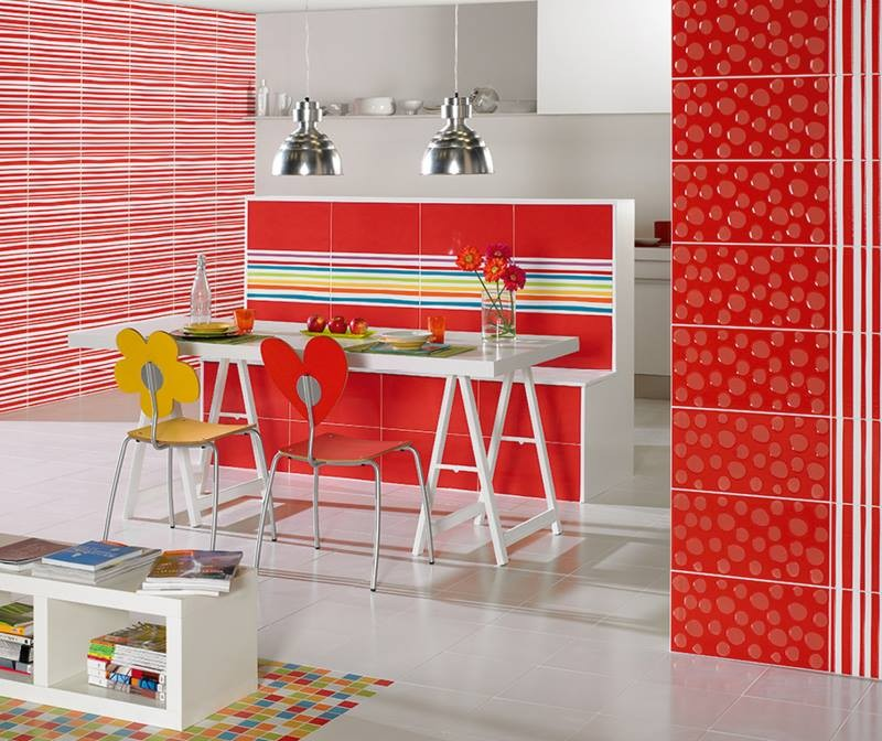 9-5-ceramic-tiles-in-interior-design-bright-red-kitchen-wall-stripy-multicolor-pattern-fanciful-chairs-cheerful-Pamesa-brand-collection-2017