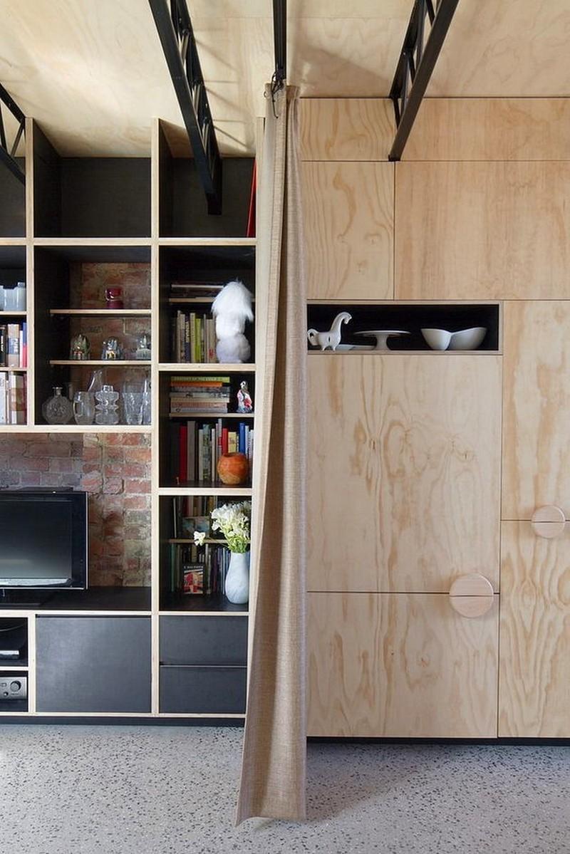 9-veneer-furniture-light-closet-doors-cabinets-shelves-TV-metal-ceiling-decor-gray-polished-concrete-floor-beige-curtains-partition