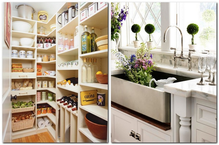 0-American-farmhouse-sink-flowers-white-kitchen-cabinets-pantry-closet-storage-ideas-food-canned-tableware