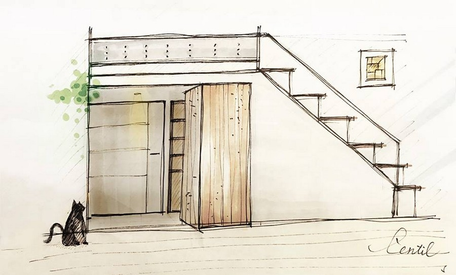 0-interior-by-A-Lentil-Design-Taiwan-China-white-walls-sketch-pencil-drawing-cat-mezzanine-attic-floor-loft-bedroom