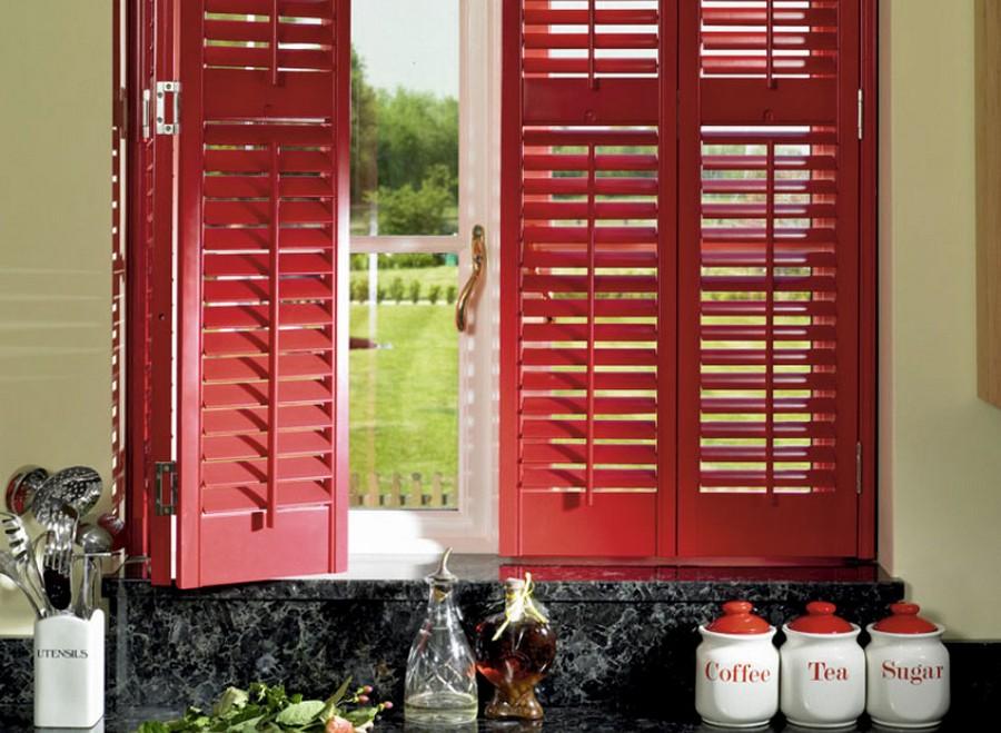 0-shutters-country-home-kitchen-window-red-black-marble-worktop-sugar-tea-coffee-jars-utensils-organizer