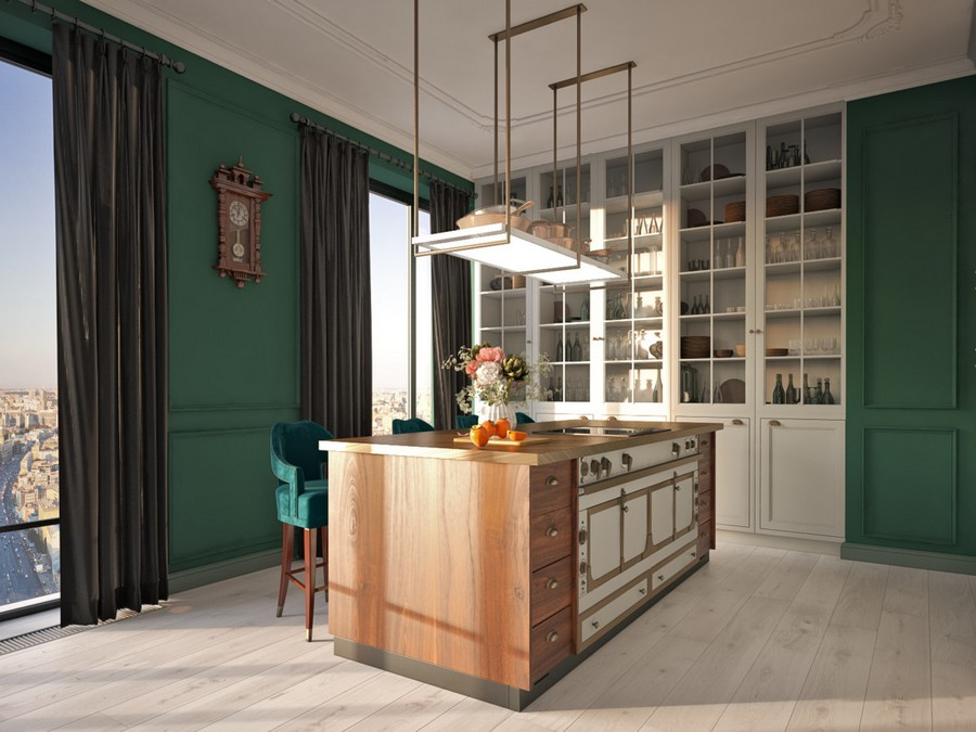 1-1-open-plan-kitchen-interior-design-in-traditional-style-retro-oven-stove-island-cooker-dark-green-walls-whitewashed-floor-white-ceiling-black-curtains-wall-to-wall-cupboard-built-in