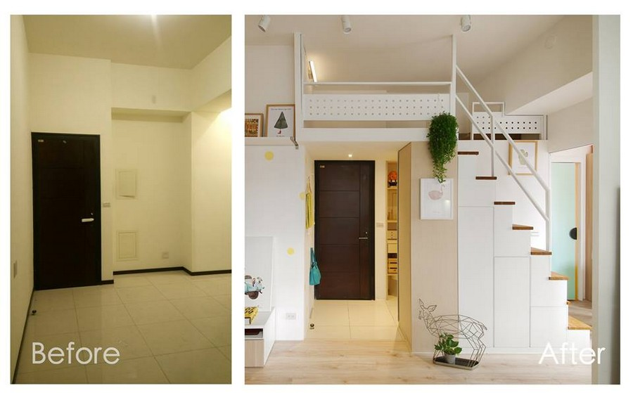 1-2-interior-by-A-Lentil-Design-Taiwan-China-white-walls-light-room-mudroom-entrance-hall-hallway-built-loft-bed-attic-mezzanine-door-wall-recess-before-after
