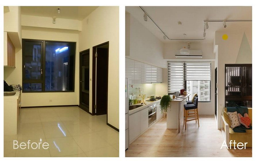 1-3-interior-by-A-Lentil-Design-Taiwan-China-white-walls-light-panoramic-windows-before-after-kitchen-track-lights-open-plan-island-dining-area-white-cabinets