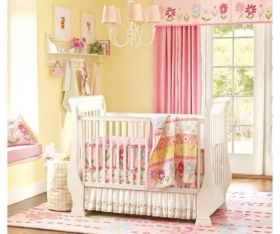 1-kid's-baby's-room-interior-white-cot-bed-pink-accents-embroidered-blanket-light-window-sill-seat-shelves-curtains-nursery-lamp-rug-cozy