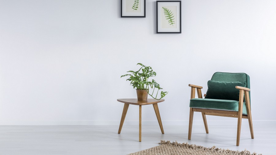 1-minimalist-style-interior-white-walls-wall-art-eco-style-wooden-retro-style-arm-chair-green-velvet-upholstery-with-sloped-legs-coffee-table-indoor-plant