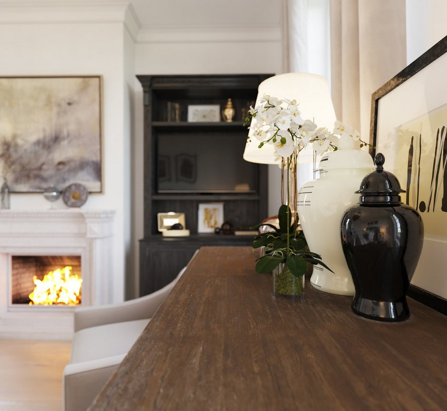 2-1-gray-beige-dark-brown-bedroom-interior-in-American-transitional-style-decor-orchid-vase-picture-fireplace-cozy-details