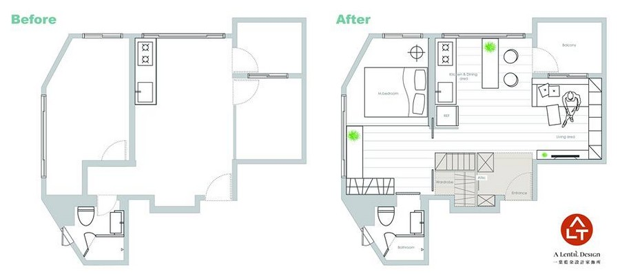 2-1-interior-by-A-Lentil-Design-Taiwan-China-before-after-plan-layout-apartment-small-with-a-balcony-and-loft-attic-room-mezzanine