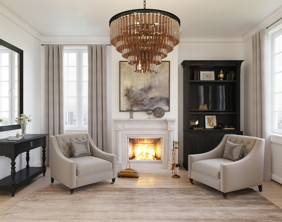 2-2-gray-beige-dark-brown-bedroom-interior-design-in-American-transitional-style-natural-stone-fireplace-surrounding-two-arm-chairs-bookcase-bookstand-console-table-with-drawers-multilayered-chandelier-rug