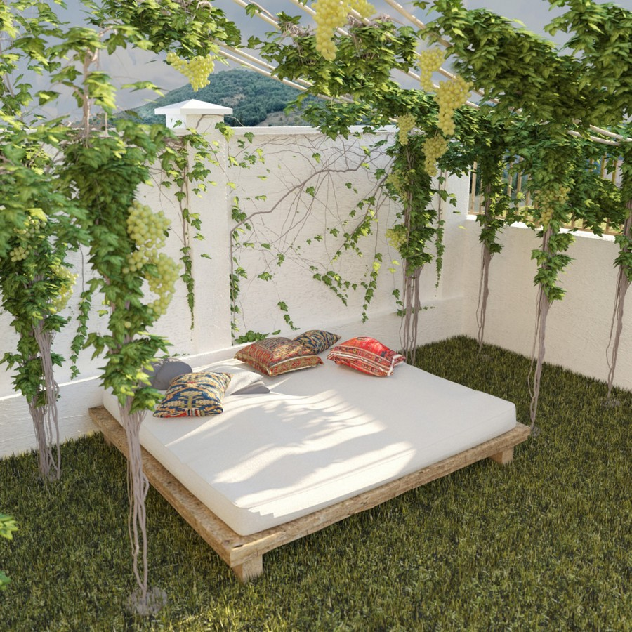 2-Mojito-Club-Holiday-Residence-apartment-Bulgaria-pergola-daybed-bed-mattress-in-the-garden-outdoor-lounge-zone-grass-wine-grapes-rope-pergola