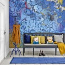 2-beautiful-wallpaper-wall-mural-wall-covering-Aqua-Clad-Underground-collection-by-Mr-Perswall-blue-yellow-abstract-pattern-bright-eye-catchy-accent-wall-mudroom-bench-coat-rack-white-floor-rug-throw-pillows