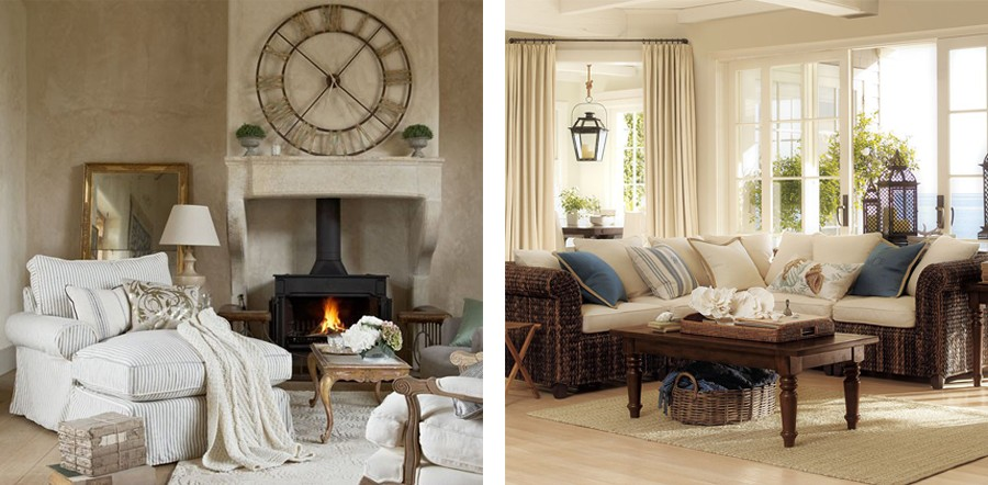 2-cozy-living-room-interior-beige-walls-curtains-neutral-colors-gray-arm-chair-corner-sofa-fireplace-cozy-blanket-coffee-table-big-clock-windows