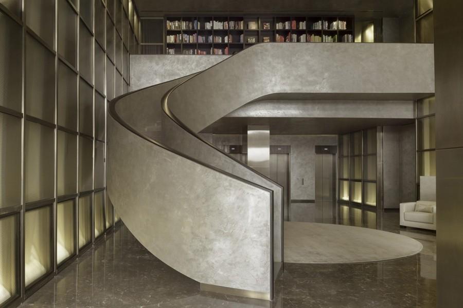 3-3-Armani-Casa-luxurious-interior-design-spiral-staircase-home-library-gray