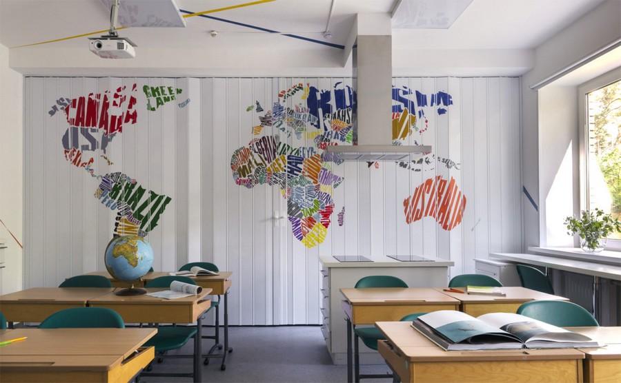 3-multifunctional-creative-beautiful-school-laboratory-interior-design-for-geography-classes-handmade-painted-acrylic-world-map-bright-multi-colored-folding-doors-desks-kitchen-island
