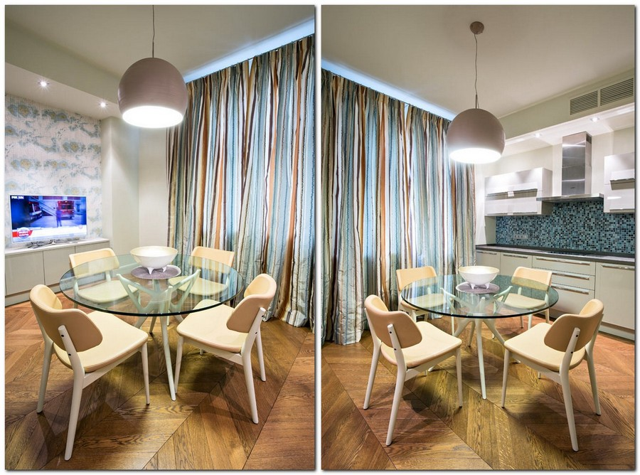 3-traditional-style-kitchen-interior-design-stripy-curtains-pendant-lamp-brown-green-accents-light-gray-walls-round-glass-dining-table-white-cabinets-mosaic-backsplash-nautical-chart-wall-mural