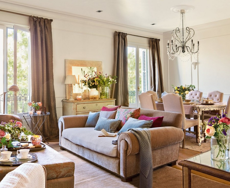 3-traditional-style-living-room-interior-design-in-summer-cottage-country-house-dining-room-upholstered-chairs-wooden-table-sofa-couch-pillows-chest-of-drawers-mirror-two-windows-flower-vases