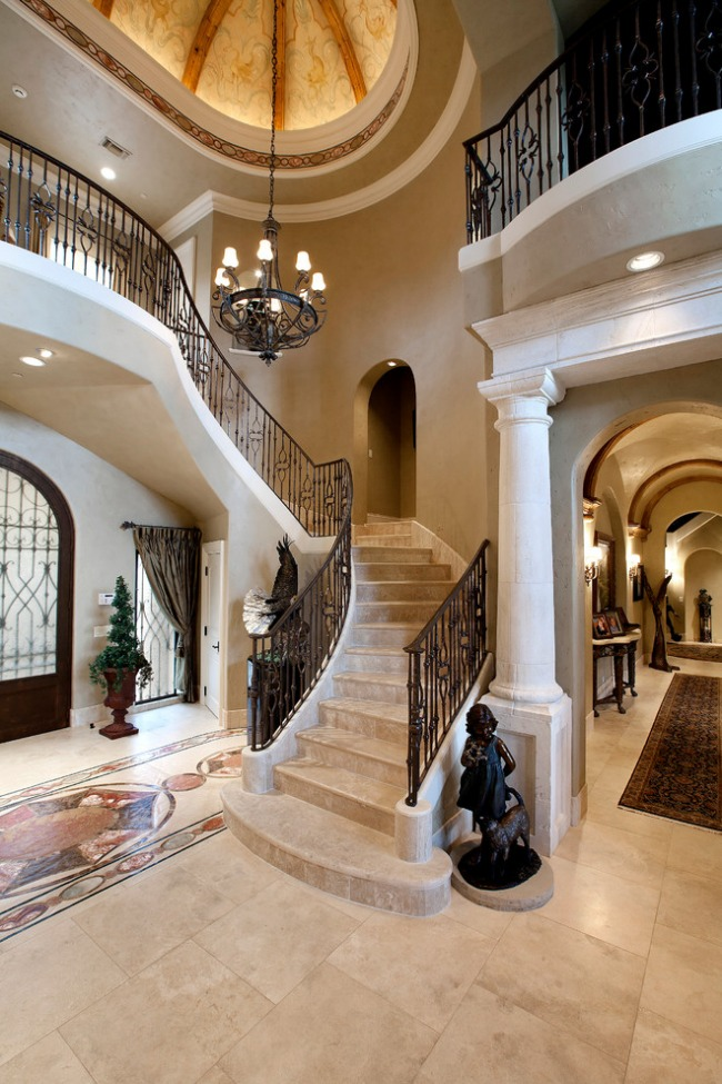 4-1-stone-staircase-stairs-beige-black-wrought-forged-stair-railings-classical-style-house-entrance-hall-statue-chandelier