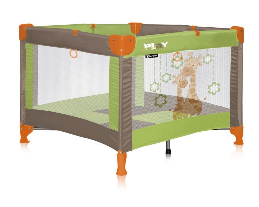 4-2-toddler-baby-bed-playpen-netted-sides-green-orange-gray