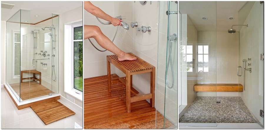 4-Traditional-Shower-Bench-wooden-glass-walk-in-shower-corner-small-long