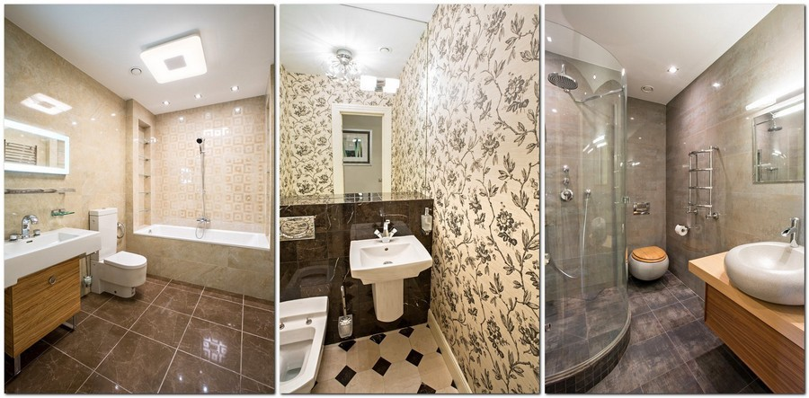 4-light-traditional-style-interior-design-bathroom-interior-design-in-beige-gray-and-brown-floral-wall-tiles-top-mounted-Japanese-style-sink-wash-basin-wall-mounted-toilet-shower-cabin-big-mirror