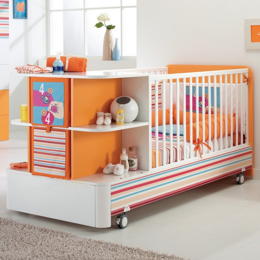 5-3-toddler-baby-bed-white-multifucntional-cot-with-storage-area-drawers-shelves-changing-table-on-wheels