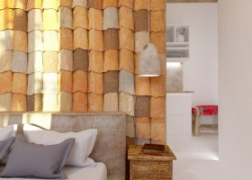 5-Mojito-Club-Holiday-Residence-apartment-hotel-room-Bulgaria-eco-style-interior-design -with-ethnic-motifs-bedroom-ceramic-tilling-wall-decor-antique-wooden-nightstand-bed-white-walls-open-plan-kitchen-orange-gray-brown