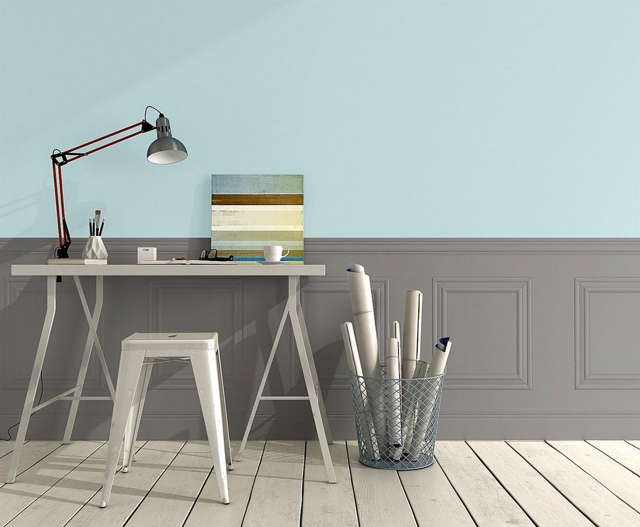 5-beautiful-wallpaper-wall-mural-wall-covering-faux-wall-panelling-gray-and-blue-work-area-interior-desk-stool-by-Rasch-top-and-bottom-wall-division