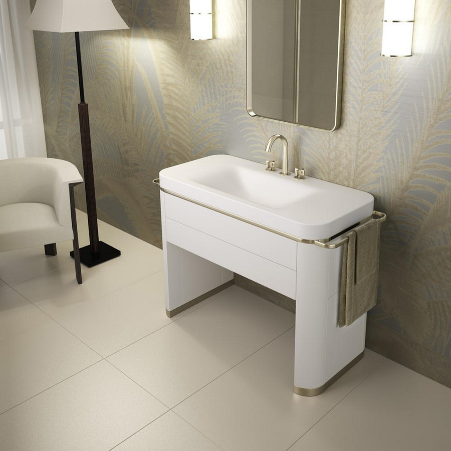 6-1-new-Baa-collection-2017-by-Roca-bathroom-interior-design-by-Giorgio-Armani-retro-style-washbasin-cabinet-matte-gold-towel-rail-mixer-tap-arm-chair-floor-lamp-floral-wallpaper-luxurious-premium