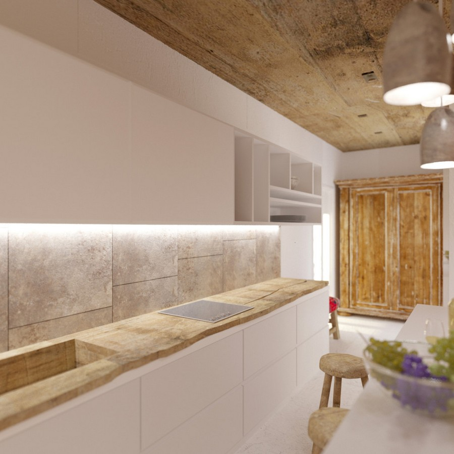 6-Mojito-Club-Holiday-Residence-apartment-hotel-room-Bulgaria-eco-style-interior-design -with-ethnic-motifs-open-plan-kitchen-entrance-hall-mudroom-white-cabinets-wooden-worktop-countertop-bar-stools-wardrobe-antique