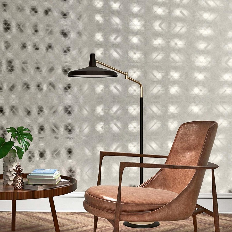6-beautiful-wallpaper-wall-mural-wall-covering-light-gray-glossy-metallized-by-Rasch-living-room-interior-brown-arm-chair-black-floor-lamp-coffee-table-herringbone-parquet-floor