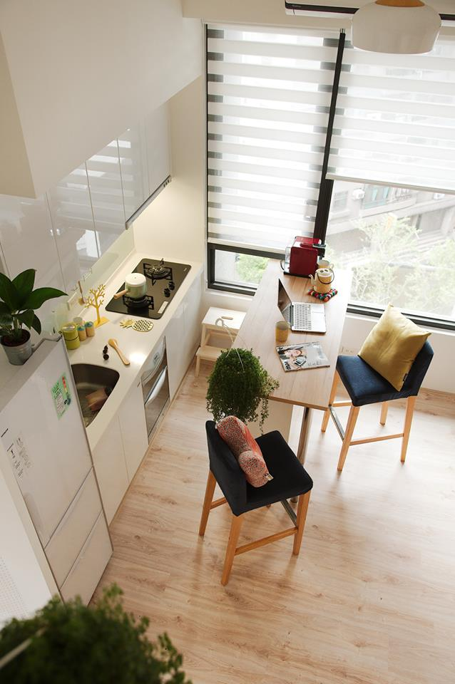 6-kitchen-interior-by-A-Lentil-Design-Taiwan-China-white-walls-light-panoramic-windows-laminate-white-cabinets-bar-stools-island-venetian-blinds-view-from-top-attic-floor