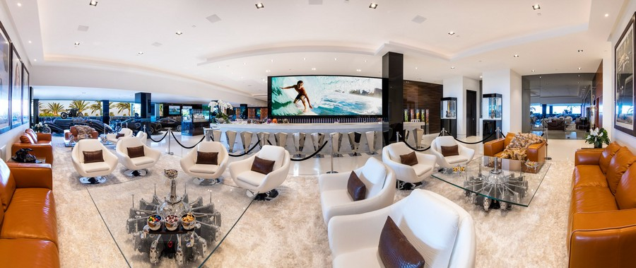 6-the-most expensive-home-in-USA-beyonce-jay-z-Los-Angeles-bel-air-luxurious-interior-design-bottom-floor-lounge-zone-garage-cars-big-TV-screen