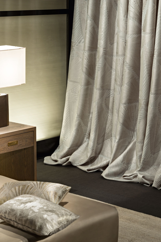 7-2-Giorgio-Armani-Casa-by-Rubelli-luxurious-home-textile-upholstery-fabrics-in-bedroom-interior-design-gray-beige-greige-throw-pillows-curtains-table-lamp-nightstand-bedside