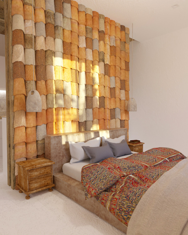 7-Mojito-Club-Holiday-Residence-apartment-hotel-room-Bulgaria-eco-style-interior-design -with-ethnic-motifs-bedroom-ceramic-tiling-accent-wall-orange-brown-gray-accents-antique-wooden-nightstands-pendant-lamps