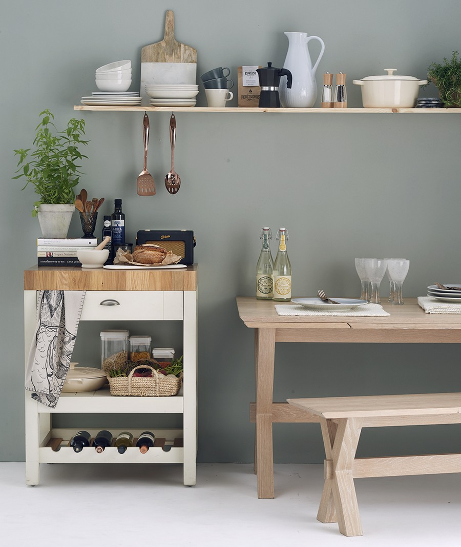 7-dining-room-area-interior-design-ideas-kitchen-in-Scandinavian-style-light-wood-dining-table-bench-open-rack-cabinet-with-drawer-wine-rack-holder
