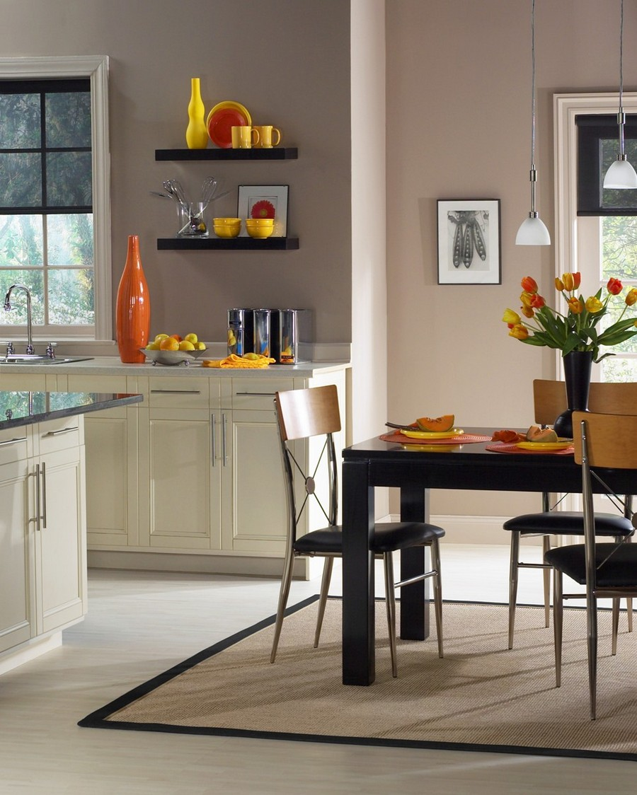 7-original-creative-kitchen-backsplash-ideas-in-interior-design-gray-painted-wall-waterproof-paint-white-cabinets-dining-room-open-racks-dark-brown-table-traditional-style