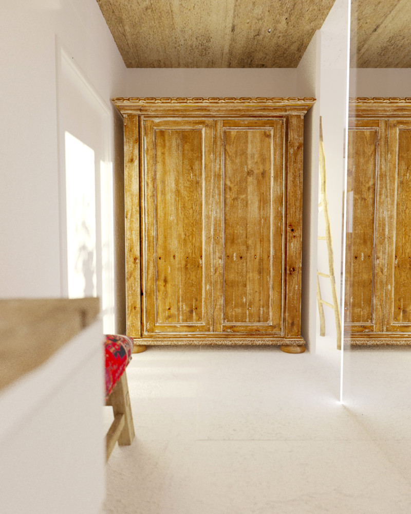 8-Mojito-Club-Holiday-Residence-apartment-hotel-room-Bulgaria-eco-style-interior-design -with-ethnic-motifs-corridor-antique-wooden-wardrobe-white-walls-self-leveling-floor-wooden-ceiling-ottoman
