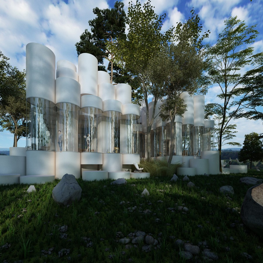 0-cylinder-house-by-Cyril-Lancelin-modular-residential-architecture-in-France-Lyon-exterior-rocks-forest-wood