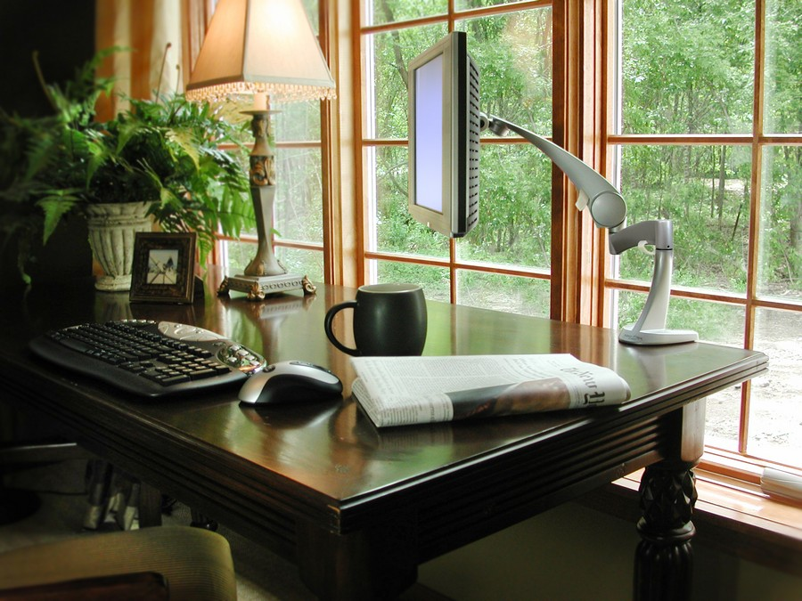 0-home-office-interior-design-ideas-inspiring-beautiful-cozy-work-area-by-thw-window-keyboard-monitor-table-mounted-black-desk-table-lamp-plant-cup-of-coffee-newspaper-mouse