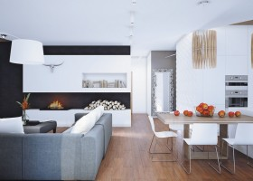 0-open-plan-minimalist-style-living-room-kitchen-dining-area-interior-white-3D-walls-plasterboard-fireplace-surround-firewood-gray-sofa-wooden-table-pendant-lamp-full-length-mirror
