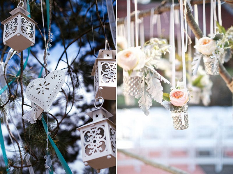 1-1-outdoor-wedding-in-the-garden-decoration-ideas-beautiful-decor-pendant-hanging-decor-tree-branches-roses-hearts-lanters-silver-vintage-style