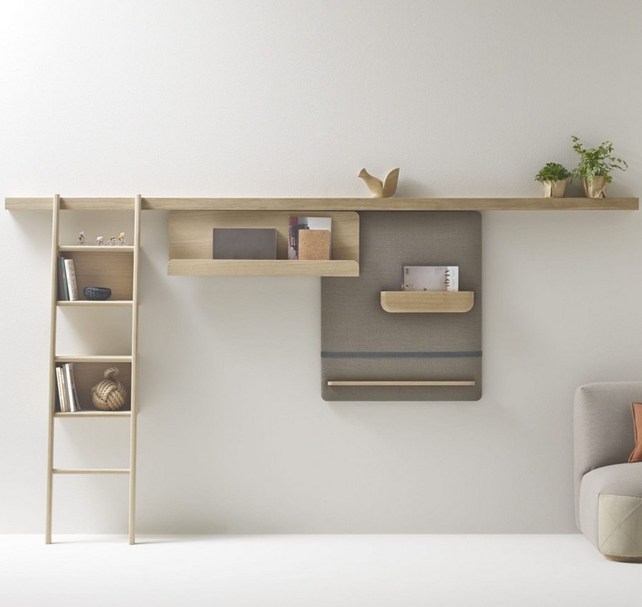 Shelving system / wall-mounted / contemporary / solid wood