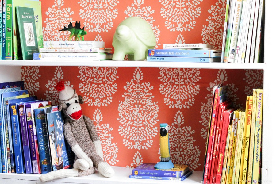 1-2-shelves-decoration-of-bookshelves-decor-ideas-red-and-white-contrasting-wallpaper-background